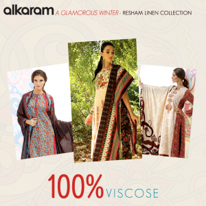 Alkaram A Glamorous Fall Winter-Resham Linen Collection 2014-15