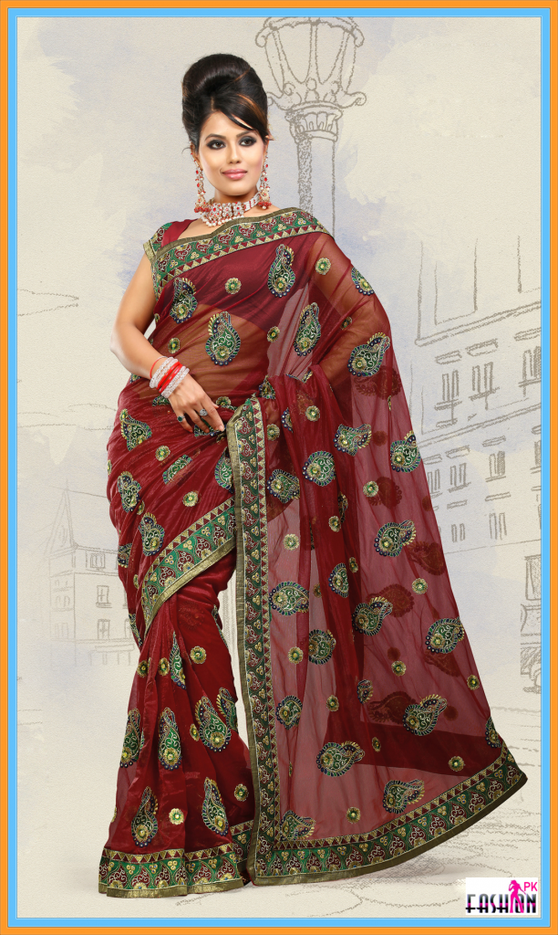 Brick Red Net Bridal Wedding Designer Indian Saree