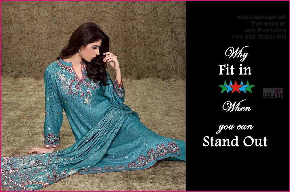 Five Star WintFive Star Winter Classic Linen & Khaddar Kurti Collection 2014-15