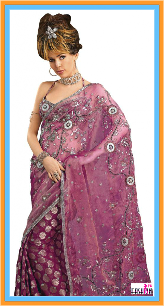 Georgette and Glass Tissue Saree