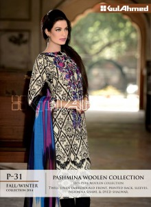 Pashmina Woolen Collection By Gul Ahemd P-31 Fall Winter Collction 2014-15