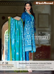 Pashmina Woolen Collection By Gul Ahemd P-38 Fall Winter Collction 2014-15