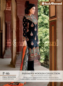 Pashmina Woolen Collection By Gul Ahemd P-46 Fall Winter Collction 2014-15